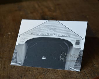 Covered bridge- Vermont- folded card, greeting card