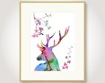 watercolor deer printable digital download antlers stag deer silhouette colorful wall art decor printable digital print pdf download jpg