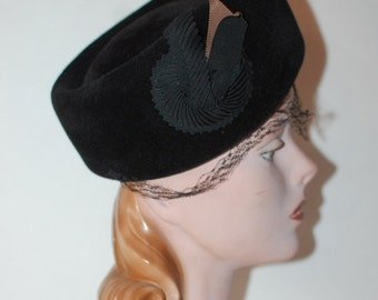 Vintage Black Velour Veiled Pillbox Hat 1950s Vixen Glamour