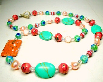 Pink Blue Aqua Glass Beads & Fresh Water Pearls Necklace, OOAK by Rachelle Starr