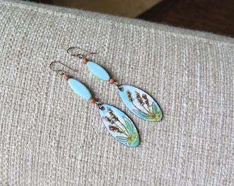 summer harvest earrings, spring earrings, sky blue earrings, farm earrings, lightweight earrings, unique wheat earrings, goldstone jewelry