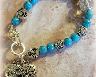 Turquoise and Silver Bead Assemblage Bracelet, Statement Bracelet, Mother's Day Gifts, Assemblage Bracelet, Repurposed and Upcycled Jewelry