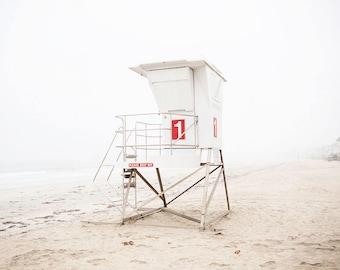 "Beach Photography, Coastal Wall Art, Seascape, Coastal Decor, Lifeguard Tower, Gray White Minimalist, Beach Art, Coastal Home ""Tower 1"""