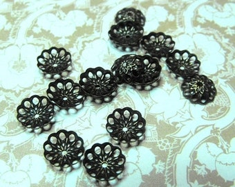 Mothers Day Sale 24 Pack New Antique Finish Brass Fancy Filigree Style Bead Caps