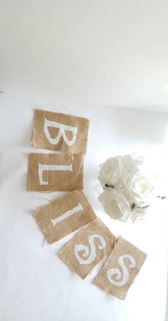 Burlap Banner Letters: 4 x 6 White Wedding Ribbon