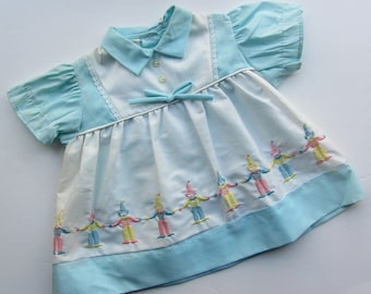 vintage blue baby dress 9 months with embroidered clowns