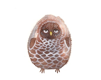 """Pinecone Owl - Original Owl Watercolor Painting - Woodland Forest Owl Wall Art - 4""""x6"""""""