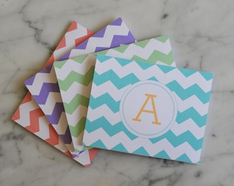 Personalized Chevron Monogram Notecards | Set of 8 with Enevolps | Available in 4 Colors
