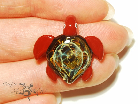Glass Jewelry - Baby Red Universe Turtle Pendant - Glass Pendant - Blown Glass Focal Bead - Artist Signed - Silver Fume Work - Free shipping