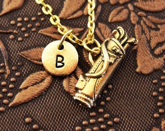 Golf Necklace, Initial Necklace, Personalized Necklace, Engraved Necklace, Golf Club Necklace, Monogram, Gold Necklace, Father's Day Gift