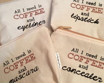 Embroidered Zipper Pouch-Coffee & Mascara, Lipstick, Eyeliner, Concealer (EZip 21)