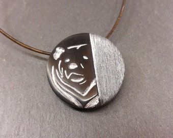 Necklace for man - bear pendant - imitation wood and brushed steel - polymer clay pendant