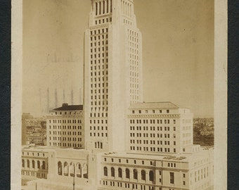 Los Angeles Postcard - Vintage Sepia Tone Photo Post Card of the New City Hall