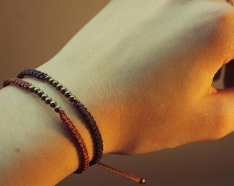 Double brass Brown & rust pearl bracelet
