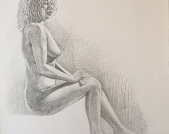 Original Figure Drawing, Seated Female, unframed, 11in x 11in