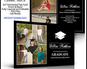 2018 Senior Invitation 5x7 Flat Card Photoshop Template CLASSIC BLACK. Graduation ceremony announcement for party invite. Horizontal Photo.