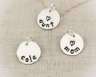 Sterling Silver Personalized Hand Stamped Charms-