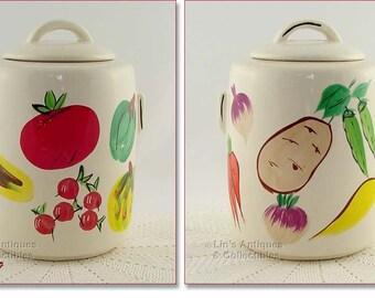 McCoy Pottery Vintage Cookie Jar,McCoy Cylindrical Cookie Jar,McCoy Cookie Jar with Vegetables Design (Inventory #3839)