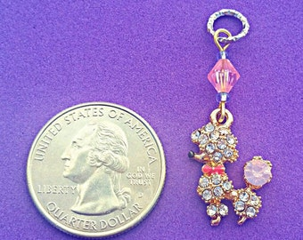Hearing Aid Charms:  Precious Rhinestone Gold Plated Poodles with Glass accent beads! Also available in matching Mother Daughter Sets!