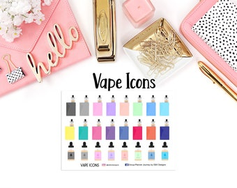 Vape Icons//EC Planner//HP Planner//Functional Stickers