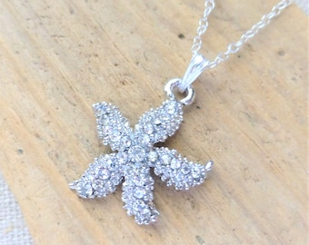 Starfish Necklace, Clear Rhinestone Starfish Charm Necklace, Sterling Silver Chain, Ocean Beach Jewelry, Beach Wedding Jewelry, Gift for Her