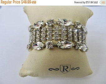 On Sale Vintage Sparking Wide Prong Set Rhinestone Bracelet Item K # 3151