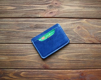 Blue leather wallet Minimalist leather card holder Credit card holder Slim card holder Leather card sleeve Leather card holder women