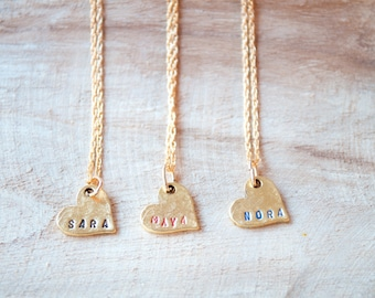 Name Necklace, Mothers Day, Gift for Mom, Heart Necklace, Personalized Necklace, Custom Made Jewelry, Hand Stamped Jewelry, Anniversary Gift