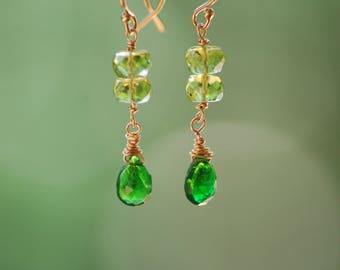 Green chrome diopside and periodot drop earrings on 14k gold-filled ear wires