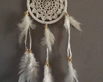 Catcher dreams - Dream Catcher - hook in white cotton and leather