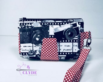 Camera Photographer, Swoon Pearl Wallet Clutch Wristlet, Ready to Ship