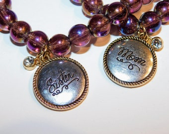 Purple Gold Iridescent Beaded Bracelet with Charm