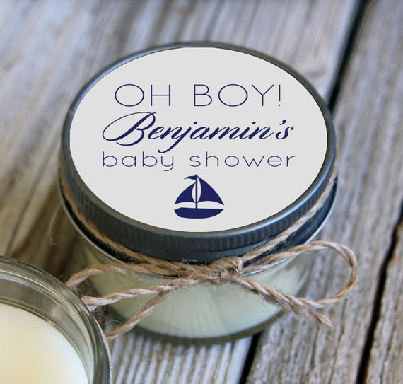 Reserved - Set of 35 - 4 oz Nautical Baby Shower Favor Candle- Personalized Baby Shower Favors // Ahoy its a Boy