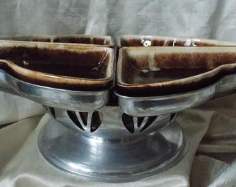 Mid-Century Brown Drip Lazy Susan Serving Bowl and Trays
