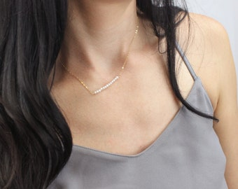 Beaded Necklace, Genuine Pearl Necklace, Pearl Bar Necklace