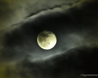 January Blue moon,full moon, moon, nature, night photography, original photograph