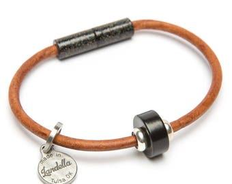 Leather Magnetic Bracelet by Landella with Single Black Disc Bead
