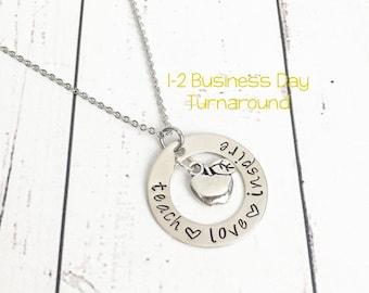 Teach Love Inspire Hand Stamped Teacher Necklace with Apple Charm - Teacher Gift -Teacher Present-Teacher Appreciation Gift-Gift for Teacher
