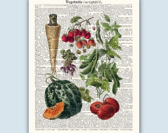 Kitchen Decor, Kitchen Poster, Art For Kitchen, Cooking Gifts, Vegetable Art, Vegetable Print, Vintage Kitchen Art, SKUV1.