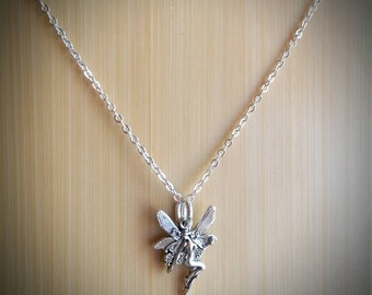 Dainty Fairy with Wings Necklace - silver tone charm on silver plated chain