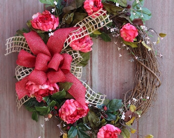 Rustic Peony Wreath, Mothers Day Wreath,  Spring Wreath, Large Front Door Wreath, Farmhouse Wreath, Welcome Wreath, Grapevine Wreath