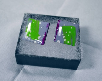 Abstract, Art, Earrings, Modern, Minimalist, Expressionist, Acrylic, Resin, Wood, Scrabble Tile