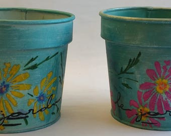 """Medium Metal Planters Pair """"LE JARDIN""""  from Summer 2017 collection"""