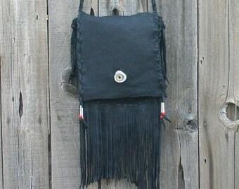 Black leather handbag with fringe ,  Black leather crossbody handbag ,  Rustic leather crossbody bag