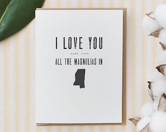 southern love greeting card - magnolias in mississippi
