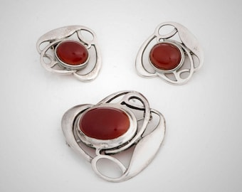 Liberty & Co sterling and carnelian brooch and earrings