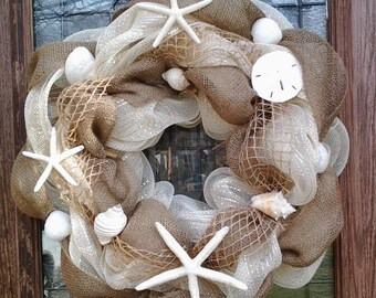Seashell/burlap wreath