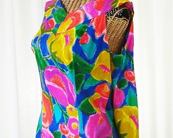 Goddess Dress Draping Back 1970s Multi-Color Handcrafted 40 Bust