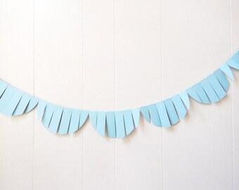 Nursery Garland / Wedding Garland / Fringe Garland / Baby Blue Bunting / Fringe Scallop garland / Photo Prop / Light Blue Nursery