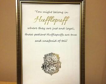 Harry Potter Hufflepuff Print - Hufflepuff Foil Print - Hogwarts House Wall Art - Foil Art Harry Potter Sorting Hat Quote Print